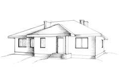 Hand tekening van het huis Stock Foto's