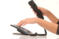 Hand on telephone. Business concept with woman hand on telephone Stock Image