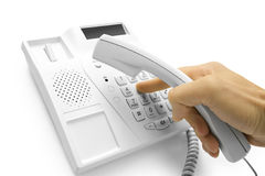 Hand with telephone Royalty Free Stock Images