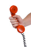 Hand and telephone receiver Royalty Free Stock Photo