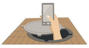 Hand with a telephone rising from the sewer manhole concept illustration vector illustration