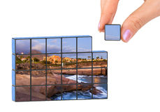 Hand and Tenerife Canary (my photo) puzzle Stock Photography