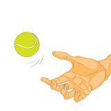 Hand with tennis ball Stock Images
