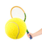 Hand with tennis racket and ball Stock Photography