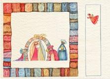 Hand teruggetrokken Kerstmisprentbriefkaar Stock Afbeeldingen