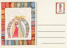 Hand teruggetrokken Kerstmisprentbriefkaar Stock Fotografie