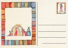 Hand teruggetrokken Kerstmisprentbriefkaar Stock Foto's