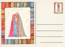 Hand teruggetrokken Kerstmisprentbriefkaar Royalty-vrije Stock Afbeeldingen