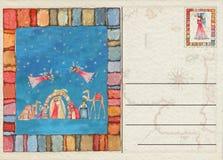 Hand teruggetrokken Kerstmisprentbriefkaar Royalty-vrije Stock Foto's