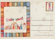 Hand teruggetrokken Kerstmisprentbriefkaar Royalty-vrije Stock Afbeelding