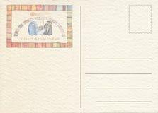 Hand teruggetrokken prentbriefkaar Stock Afbeeldingen