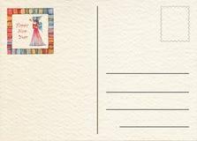 Hand teruggetrokken prentbriefkaar Stock Foto's
