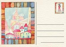 Hand teruggetrokken prentbriefkaar met de scène van de Kerstmisgeboorte van christus Royalty-vrije Stock Foto