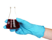 Hand with a test tube isolated Royalty Free Stock Image