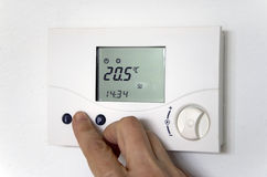 Hand thermostat Stock Image