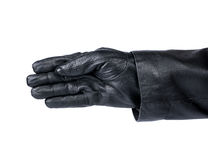 Hand thief. Empty thief's hand in a glove on a white background Royalty Free Stock Photo
