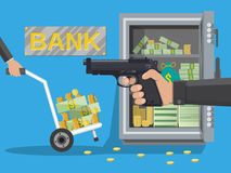 Hand of thief holding pistol in bank. Hand of thief holding pistol and hand truck full of money and coins, steel safe. Robbery concept. Vector illustration in Stock Photo