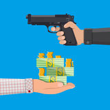 Hand of thief holding pistol and hand with money. Robbery concept. Vector illustration in flat style Royalty Free Stock Photo