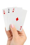 Hand with three aces Royalty Free Stock Images