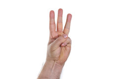 Hand, three fingers. Hand with three fingers pointing up Stock Image
