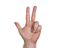 Hand, three fingers 2. Hand with three fingers pointing up Stock Photos