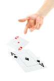 Hand Throwing Cards Royalty Free Stock Photography
