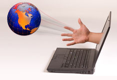 Hand Throwing Planet Earth Stock Image