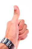 Hand thumb. Hand with thumb up over white background Stock Images