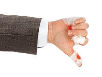 Hand thumb with blood and bandage Stock Images