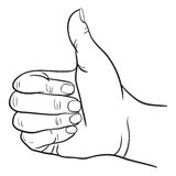 Hand with Thumb Finger Up, Victory and O.K. Symbol Hands. Vector Illustration Royalty Free Stock Image