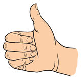 Hand with Thumb Finger Up, Victory and O.K. Symbol Hands. Vector Illustration Royalty Free Stock Images