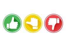 Hand with the thumb in green, yellow and red buttons. Vector royalty free illustration