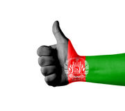 Hand with thumb up, Afghanistan  flag painted Stock Photos