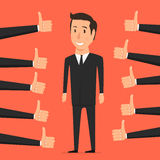 Hand with thumb up. Approval person. Hand with thumb up. Like. Positive feedback, approval person stock illustration