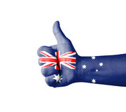 Hand with thumb up, Australia  flag painted Stock Photo