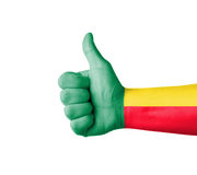 Hand with thumb up, Benin  flag painted Stock Images