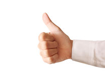Hand with thumb up. Business man hand with thumb up stock image