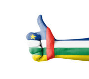 Hand with thumb up, Central Africa  flag painted Stock Photos