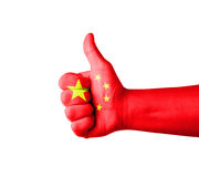 Hand with thumb up, China  flag painted Stock Photography