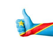 Hand with thumb up, Congo  flag painted Stock Photography