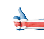 Hand with thumb up, Costa Rica  flag painted Stock Photography