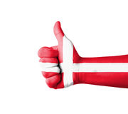 Hand with thumb up, Denmark  flag painted Royalty Free Stock Photography