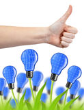 Hand with thumb up and eco energy bulbs Royalty Free Stock Images