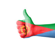 Hand with thumb up, Eritrea  flag painted Stock Photos