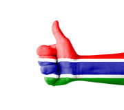 Hand with thumb up, Gambia  flag painted Royalty Free Stock Images