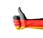 Hand with thumb up, Germany  flag painted Royalty Free Stock Photography