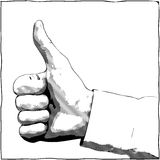 Hand with a thumb up gesture. A hand with a thumb up gesture - vector monochrome illustration Royalty Free Stock Photography