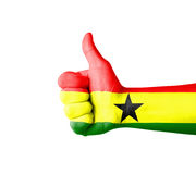Hand with thumb up, Ghana  flag painted Royalty Free Stock Photography