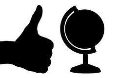 Hand (thumb up) and a globe. Black silhouette of a hand (with a thumb up) and a globe (isolated on white Stock Photography
