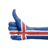 Hand with thumb up, Iceland flag painted Royalty Free Stock Photo